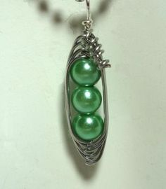 Pendant, Three Peas In A Pod, Silver, Mint Green, Pearl, Unique Jewelry by thecuriouscupcake on Zibbet by thecuriouscupcake for $10.00