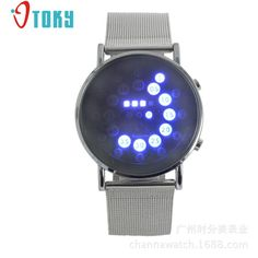 >> Click to Buy << Men Sport Watches LED Round Mirror Blue Circles Stainless Steel Band Digital Watch Relogio Masculino Creative Apr13 #Affiliate