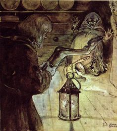 """You villain, you rogue !"" cried old Lady Skinflint"", illustration from ""The Barrel Bung"" tale, ""Swedish fairy tales"", by Elsa Olenius, Holger Lundbergh (trad), 1974 ; illustration by John Bauer (originally published in ""Bland Tomtar Och Troll"")"