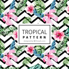 Modern pattern with tropical watercolor flowers Free Vector Motif Tropical, Tropical Design, Tropical Pattern, Tropical Vibes, Tropical Leaves, Watercolor Leaves, Floral Watercolor, Monogram Wedding, Floral Wedding