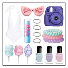 """""""Swimsuit #8"""" by grequin ❤ liked on Polyvore featuring Cotton Candy, Eres, Deborah Lippmann, ZeroUV and Forever 21"""