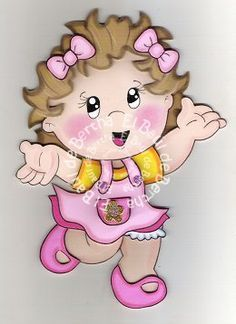 ✿.。.:* BERTHA MANUALIDADES *.:。✿: NiÑoS BaiLaNdO ♥ Foam Crafts, Diy And Crafts, Crafts For Kids, Girly Cakes, Girly Drawings, Ideas Para Fiestas, Button Crafts, Kids Cards, Paper Piecing
