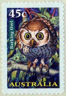 Items similar to Barking Owl Australia -Handmade Framed Postage Stamp Art 13674 on Etsy Owl Bird, Pet Birds, Postage Stamp Art, Australian Birds, Tampons, Fauna, Stamp Collecting, Mail Art, My Stamp