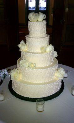 The wedding cake, made by Bredenbeck's Bakery www.bredenbecks.com