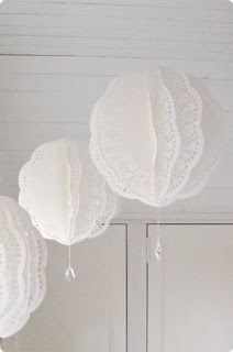 @ Dress Factory: Paper doily balls with crystal drops- could use paper doilies for this! Paper Doily Crafts, Doilies Crafts, Paper Doilies, Diy Paper, Paper Lace, Deco Champetre, Paper Lanterns, Paper Lantern Chandelier, White Lanterns