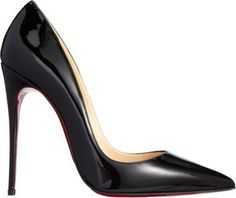 """Christian Louboutin So Kate, Pointed-toe pump crafted from sleek patent leather. Approximately 4.75"""" heel (120 mm). Signature red leather sole. Available in Black. Made in Italy."""