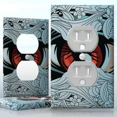 DIY Do It Yourself Home Decor - Easy to apply wall plate wraps | Looking at You  One eye peeping  wallplate skin sticker for 1 Gang Wall Socket Duplex Receptacle | On SALE now only $3.95