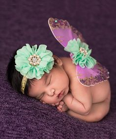 Look at this Lavender & Mint Glitter Wings & Headband on #zulily today!