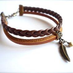 Bracelet tresse marron et cuir, plume bronze Bijoux ENORA
