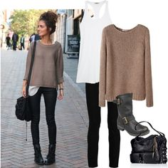 Black pants, black boots, tan sweater Cute!!