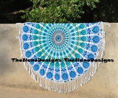 Blue White Feather Mandala Roundie Beach Throw – TheNanoDesigns