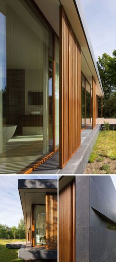 On the facade of this modern home, large scale, sliding wood mullions made from Western Red Cedar provide shade, privacy and protection to the home. The mullions can slide allowing the interior of the home to be opened up to the garden. #WoodScreens #Mull