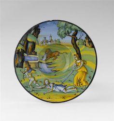 Musée d'Ecouen. Assiette: Pyrame et Thisbé, émail bleu. ECL1845. Vers 1540-1545: BALDASSARE MANARA. FAENZA (origine). Ht: 0.043 Diamètre: 0.2355 m.