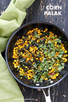 Corn Palak. Curried corn and Greens. Seasonal greens, chard and spinach with corn and spices make for a quick side, taco filling or addition to a salad. Vegan Gluten-free Soy-free Recipe. | VeganRicha.com