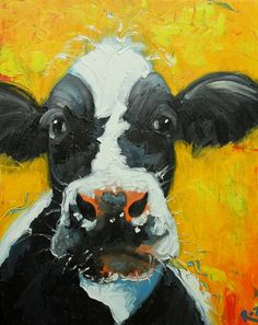Cow painting 630 16x30 inch original animal portrait oil painting by Roz on Etsy, $165.00