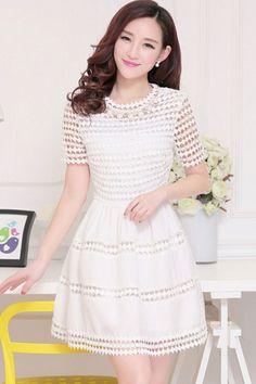Cutout Short Sleeve A-line Dress