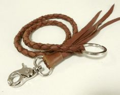 Leather lanyard hand cut hand stitched. by SleepingDogsLeather