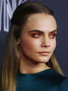 Cara Delevingne's red eye shadow | allure.com
