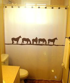 Wild Horses Shower Curtain Western theme bathroom decor kids bath horse herd zebra meadow sunset hill
