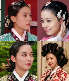 Traditional hairstyles worn with hanbok. The Korean hanbok represents one of the most visible aspects of Korean culture, and hair is an important element in these outfits. Traditional Hairstyle, Korean Traditional Dress, Traditional Dresses, Korean Hanbok, Korean Dress, Korean Outfits, Korean Men Hairstyle, Korean Hair, Hairstyles For Gowns