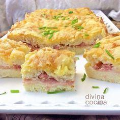Con esta receta de pastel de pan de molde gratinado preparas al momento un vistoso pastel salado para reuniones de grandes y pequeños.