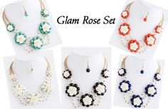 GroopDealz | Glam Rose Necklace Set - Quick Ship!!!