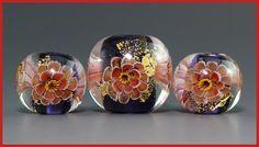 Handmade Lampwork focal red flower murrini Bead by ikuyoglassart