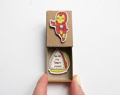 Funny Youre my superman Card for Him  This listing is for one matchbox. This is a great alternative to a Valentine/Anniversary card. Surprise your loved ones with a cute private message hidden in these beautifully decorated matchboxes!  Each item is hand made from a real matchbox. The designs are hand drawn, printed on paper and then hand assembled to give each individual matchbox that special personalized touch. Weve found that these matchboxes are the perfect way to brighten someones d...