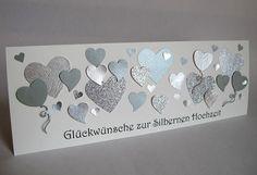 Silberhochzeit, Karte zur Silbernen Hochzeit, 25 Jahre, Glückwunschkarte Silver Wedding Anniversary, Card