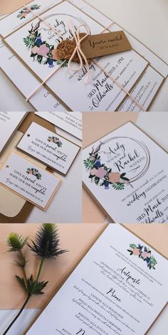 Floral Wedding Stationery Collection. Kraft paper with peach, pink, coral, blue flowers and calligraphy, perfect for a vintage themed wedding. Part of the 'BLOOMS' collection by Paper Date.