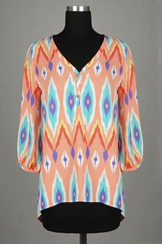 *** New Style *** Lightweight High Low Drop Waist Blouse with Button Trim V Neckline in Hazy Tribal Print.