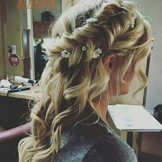 Fall weddings are beautiful! Bridal hair by Audi. Formal braids with curls. #braidsandbalayage #instabraid #bridalhair #flowercrown #brides