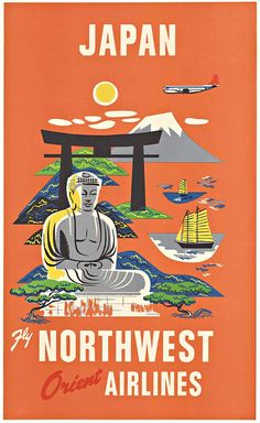 Vintage American travel poster for Northwest Orient Airlines advertising Japan as a vacation destination.