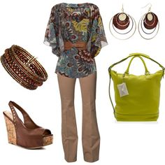 """Paisley -- brown, turquoise and a splash of lime green"" by lkm555 on Polyvore"