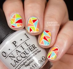 Wondrously Polished: Bright Wallpaper inspired Triangles Nail Polish Art, Toe Nail Art, Easy Nail Art, Beautiful Nail Designs, Cute Nail Designs, Beautiful Nail Art, Toe Designs, Nailart, Geometric Nail Art