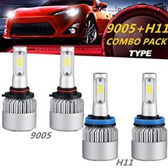 LED Headlight Bulb Kit, POWLAB 4Pcs/Set LED Headlight Bulbs, 9005 HB3 and H11 H9 High/Low Beam Combo, All-in-One Headlight Conversion Kit, 144W 14400LM PHILIPS CSP Chips 6500K S2 Series, 2 Yr Warranty