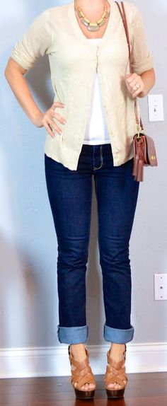 Outfit Posts: outfit post: beige cardigan, bootcut jeans, tan wedges
