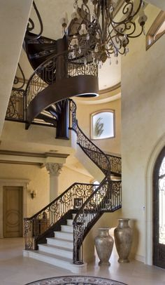 Custom spiral staircase - traditional - staircase - las vegas - by Macaluso Designs, Inc. Grand Staircase, Staircase Design, House Staircase, Staircase Ideas, Staircase Outdoor, Staircase Remodel, Stair Design, Foyer Design, Deco Design