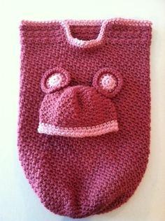 Crochet teddy bear baby cocoon