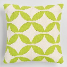 Green Petals Woven Indoor Outdoor Patio Throw Pillow - Polyester by World Market for sale online Outdoor Chair Cushions, Throw Cushions, Outdoor Throw Pillows, Decorative Throw Pillows, Outdoor Chairs, Affordable Home Decor, Indoor Outdoor, Outdoor Spaces, Patio