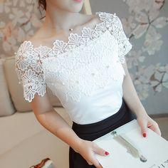 Lace Patchwork Short Sleeve White Blouse Shirt - FashionandLove.com