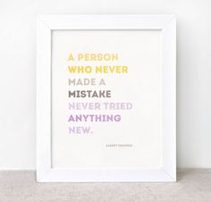 Einstein Typographic Print - 8x10 - Inspirational, Eco Friendly, Mistake Quote - Color Block Yellow, Brown, Purple. $16.00, via Etsy.