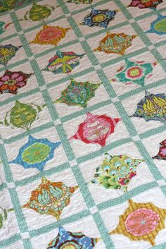 Great use of color in this Mod Medallions quilt. A Little Bit Biased: Around the Block Samplers