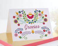 Gracias, gracias tarjeta, juego de 10 | Fiesta, cumpleaños, mexicano, Dia De Los Muertos, Cinco De Mayo, despedida de soltera, boda | Julieta ________________________________________________________________________________________ . . . . . . . . . . . . . . . . . . . . . . . . . . . . . . . . . . . . . . . . . . . . . . . . . . . . . . . . . . . . . . . .  El conjunto de la nota de Julieta Gracias se imprime digitalmente en 120 lb cubierta de papel de peso. Sobres solapa cuadrada en blanco…