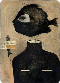'Le poisson des origines' (2006) by French artist Caroline Gamon. Paint &…