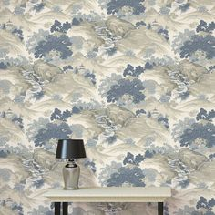 The Crown Archives Oriental Landscape Wallpaper in blue, grey and cream is a modern take on a classic wallpaper with subtle metallic highlights. Free UK delivery available Flamingo Wallpaper, Wallpaper Uk, Paper Wallpaper, Designer Wallpaper, Landscape Walls, Landscape Wallpaper, Classic Wallpaper, High Quality Wallpapers, Blue China
