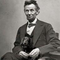 Good company. Abraham Lincoln and his Dachshund.