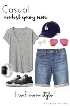 Bermuda shorts outfit idea - casual young mom style