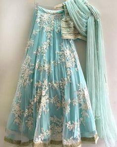 Powder blue lace and sequin lehenga custom made available in custom colors - Abiti indiani - Jupe Lehnga Dress, Lengha Choli, Indian Lehenga, Red Lehenga, Blue Lengha, Silk Dupatta, Party Wear Lehenga, Party Wear Dresses, Bridal Lehenga