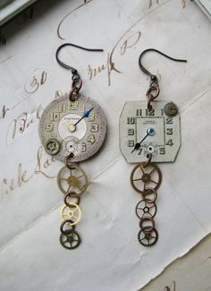 Steampunk Antique Pocket Watch Parts Earrings Art Deco wristwatches gears tiny rhinestones assymetrical
